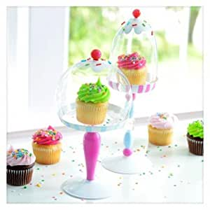Glitterville Cupcake Stands with Glass Dome Cloches, Set of 2, Pink & Blue