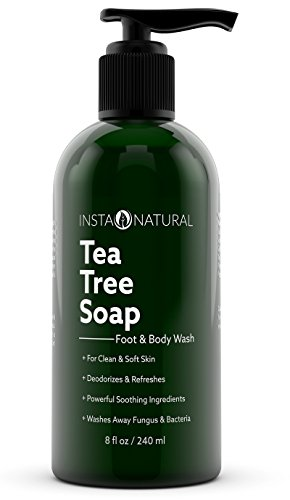 InstaNatural Antifungal Tea Tree Oil Soap - Foot & Body Wash - For Acne, Odor, Bacteria, Nail Fungus, Athlete's Foot, Ringworm & Jock Itch - Best Moisturiser for Dry, Itching & Irritated Skin - 8 OZ