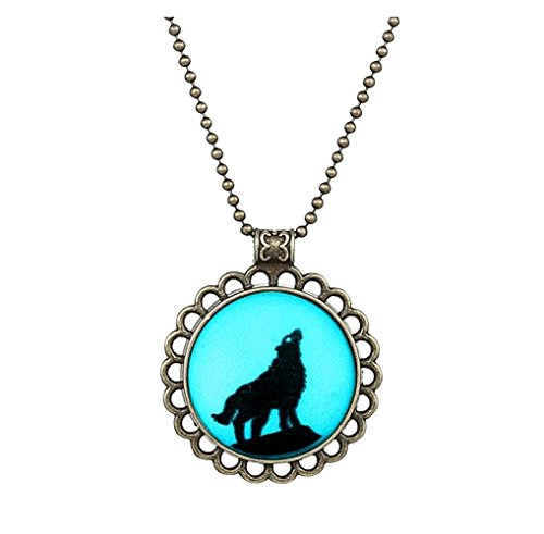 Winter's Secret Restoring Ancient Style Creative Luminous Loneliness Wolf Man's Necklace
