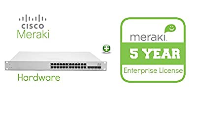 Meraki Cloud Managed MS220 Series 24 Port Gigabit PoE Switch Bundle - 24x 1GbE Ports - Includes 5 Years Enterprise License