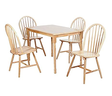 Natural Classic Dining Set - Set Includes Table And 4 Chairs - Crafted From Solid Rubberwood - Formal Traditional Style
