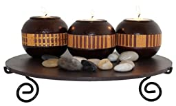 Essentials Décor Entrada Collection 3-Piece Candle Holder Set, Black and Tan