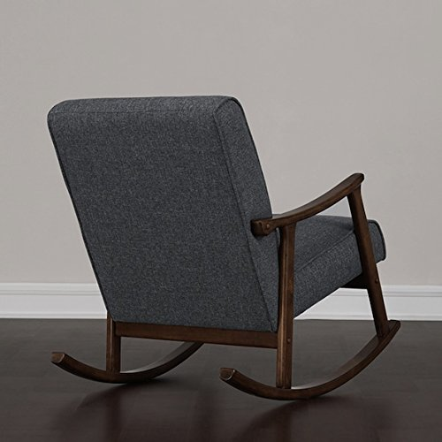 Granite Grey Fabric Retro Wooden Rocker Glider Chair 2