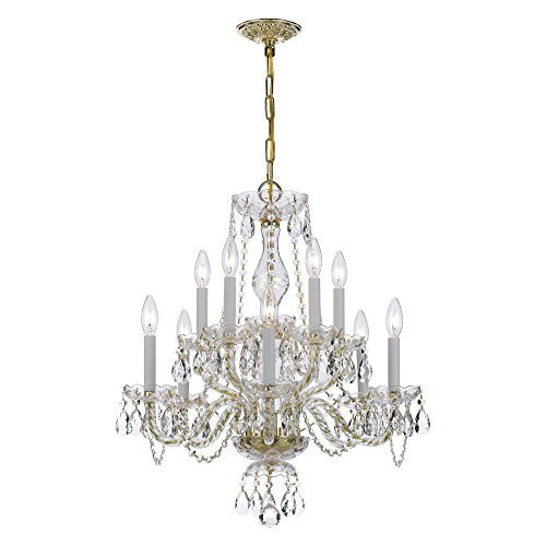 Crystorama Lighting 5050-PB-CL-MWP Chandelier with Hand Polished Crystals, Polished Brass