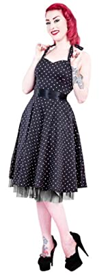 H&R London Women's Mini Polka Dot Halter Swing Dress