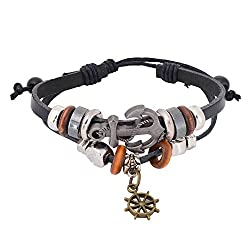Aaishwarya Anchor Rudder Charm Leather Bracelet For Men & Women