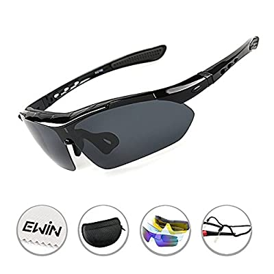 Ewin E03 Polarized UV400 Protection Sports Sunglasses with 5 Interchangeable Lenses for Men Women Cycling Driving Climbing Biking Glasses