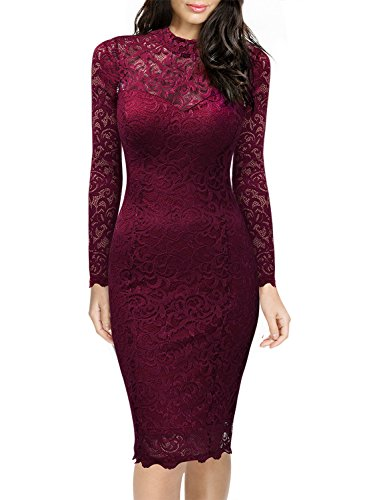 Miusol Women's Classicial Floral Lace Long Sleeve Slim Formal Mini Dress