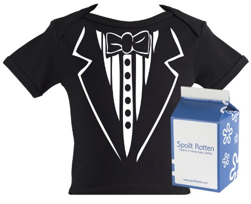 Spoilt Rotten - Tuxedo Baby & Toddler Slogan T-Shirt 100% Organic Sizes 5-6 years BLACK + in funky Milk Carton