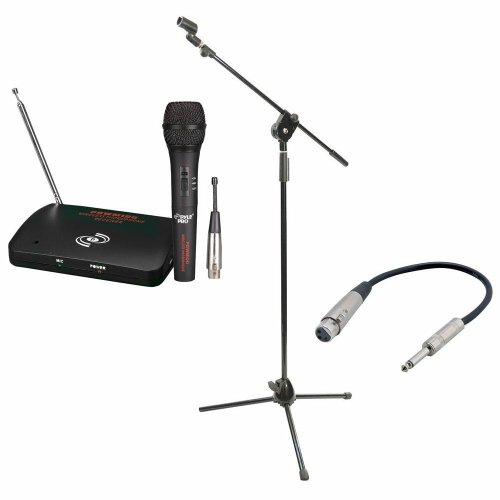 Pyle Mic And Stand Package - Pdwm100 Dual Function Wireless/Wired Microphone System - Pmks3 Tripod Microphone Stand W/ Extending Boom - Ppfmxlr01 12 Gauge 6 Inch 1/4'' To Xlr Female Cable