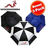 """Woodworm Double Canopy 60"""" 3 Pack of New Golf Umbrellas"""