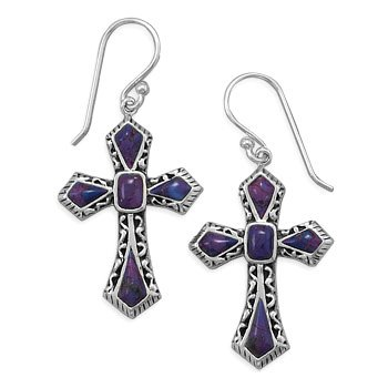 Purple Turquoise Cross Earrings Sterling Silver Antique Finish