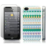 IPhone 4S / iPhone 4 Totally Tribal 'Retro Vintage Aztec' (Designed by Creative Eleven) TPU Gel Skin / Case / Cover + Screen Protector - Part Of The Qubits Accessories Range