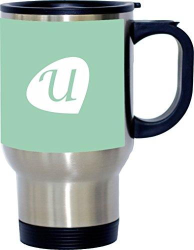 "Rikki Knight Letter ""U"" Initials Hemlock Green Color Petal Leaves Design 14oz Stainless Steel Travel Mug"