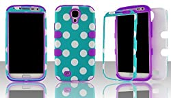 Samsung S4 i9500 hybrid 3 in 1 White Polka on Blue with Purple Gel - (Silicon Gel inside, Hard Plastic Outside) Case Cover Snap-On