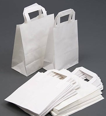 15 WHITE PAPER CARRIER BAGS PARTY BAGS