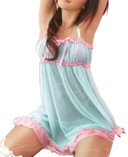 ANDI ROSE Sexy Lace Lingerie Babydoll Dress G-string Light Blue