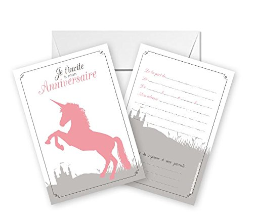 Lot-de-5-cartes-dinvitation-anniversaire-thme-Licorne