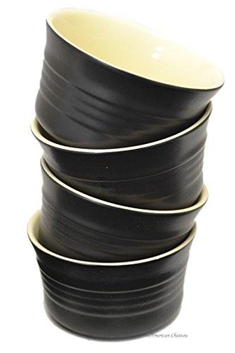 Set 4 Black Vintage-Onyx Ribbed Stoneware 8oz Oven Safe Baking Dish Ramekins
