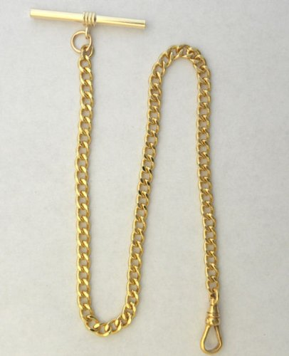 #146-3 l New gold Plated Pocket Watch Chain w/ T-Bar a Watch Swivel