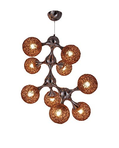 International Designs Atom 9-Light Ceiling Chandelier, Mocha