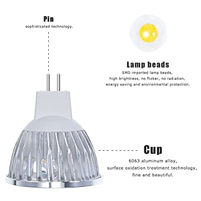 4W Dimmable MR16 LED Bulb - 3200K Warm White LED Spotlight - 50Watt Equivalent Bi Pin GU5.3 Base - 330 Lumen 60 Degree Beam Angle for Landscape, Accent, Recessed, Track Lighting