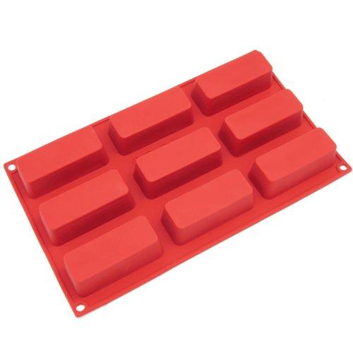 Freshware 9-Cavity Narrow Loaf Silicone Mold And Baking Pan