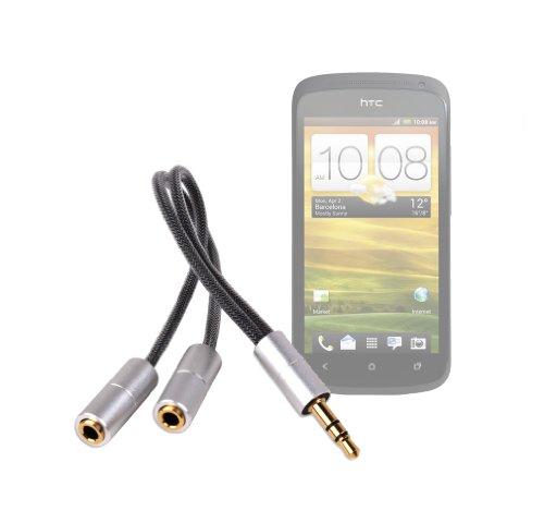 Extrakleiner Kompaktadapter (Klinke, 3,5mm, 2x Kupplung, stereo) für HTC One S, HTC Radar und Sony Ericsson Xperia Arc S Smartphones