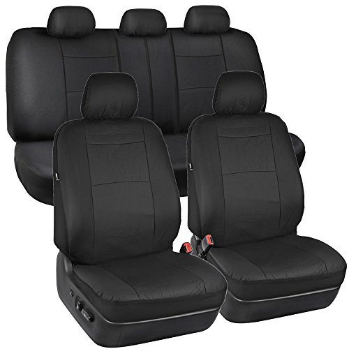 Solid Black Synthetic Leather Seat Covers for Car SUV Auto Two Tone Style (Seat Covers 2000 Camry compare prices)