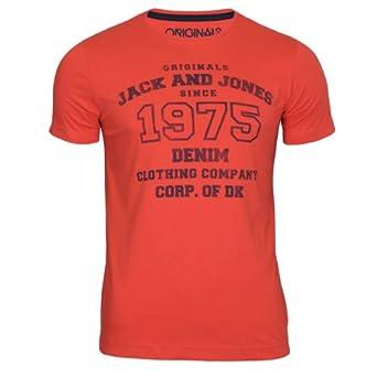 Jack & Jones Herren Logo Tee T-Shirt Slim Fit (L/48, poppy red)