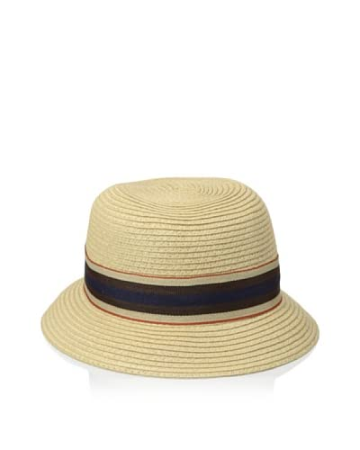 Giovannio Women's Cloche with Striped Ribbon, Camel As You See