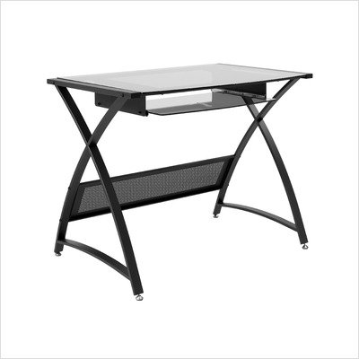 Buy Low Price Comfortable ITALMODERN BELEVEDERE Computer Desk; Smoked Glass/Graphite Black (B001NMSEO8)