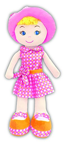 "Cameron - Gingham Cutie Stuffed Soft Rag Doll Baby Kids 14"" Girlzndollz - 1"