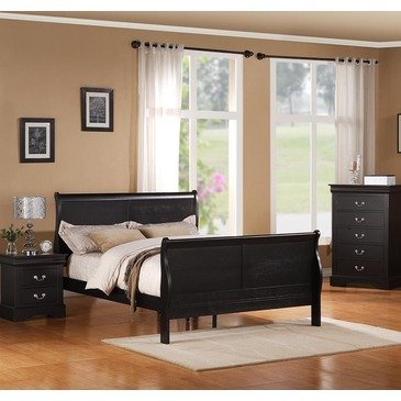 Standard Furniture Lewiston Black 3 Piece Panel Bedroom Set in Black