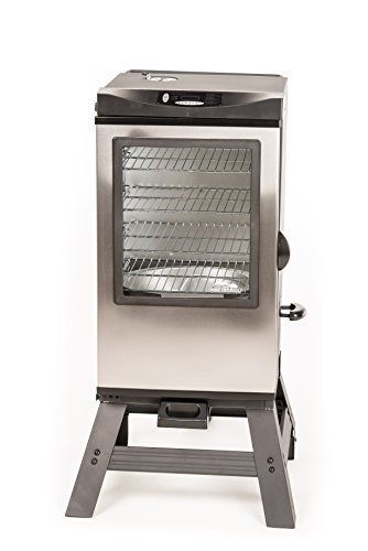 Sale!! Masterbuilt 20077016 4-Rack Digital Electric Smoker with Leg Kit Cover and Gloves, 30, Stain...