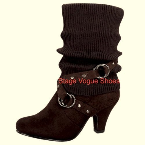 Top Moda Auto25 Women's Mid-calf Brown Sweater Top Fashion Boots