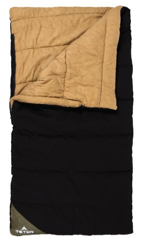 "TETON Sports Camper -10 Degree F Flannel Lined Sleeping Bag (82″ x 40″, Black with Green Corner, Right Hand ""L"" Zip)"