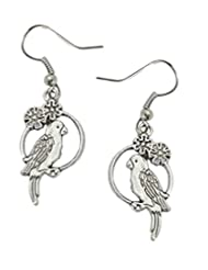 8 Republic London 925 Sterling Silver Vintage Parakeet On Swing Charm Drop Earrings For Women