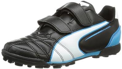 Puma  Universal TT V Jr, Chaussures de foot pour fille Noir Schwarz (black-white-fluo blue 06) 38.5