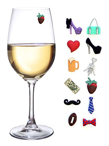 Simply Charmed His and Hers Magnetic Wine Charms & Stemless Glass Markers - Set of 12 - Fun Birthday, Hostess or Housewarming Gift