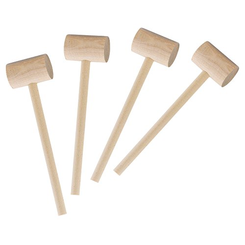 Harold Import Company Natural Hardwood Seafood Crab Mallets (Set of 4), 7.75""