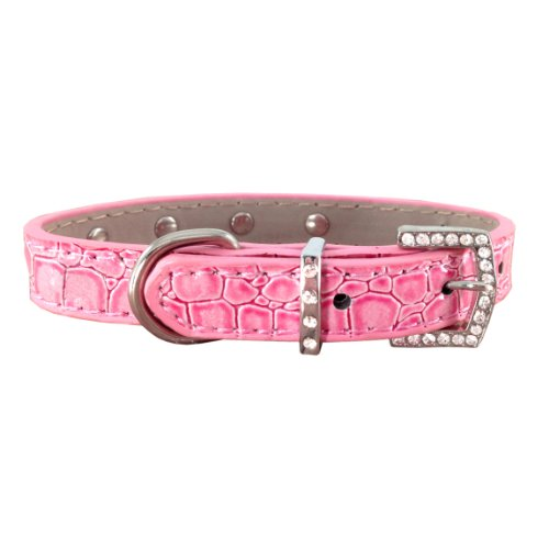 Chic Rhinestone Buckle Trendy Pink Faux Crocodile Pet Necklace Adjustable Dog Collar - Small Size