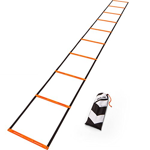GOLME PRO Speed + Agility Ladder 10-Rung with Training Drill Carry Bag