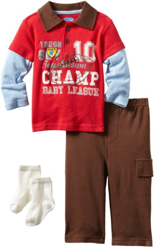 Bon Bebe Baby-Boys Infant Champ Baby League 3 Piece Pant Set, Red/Brown/Blue, 18 Months front-840547