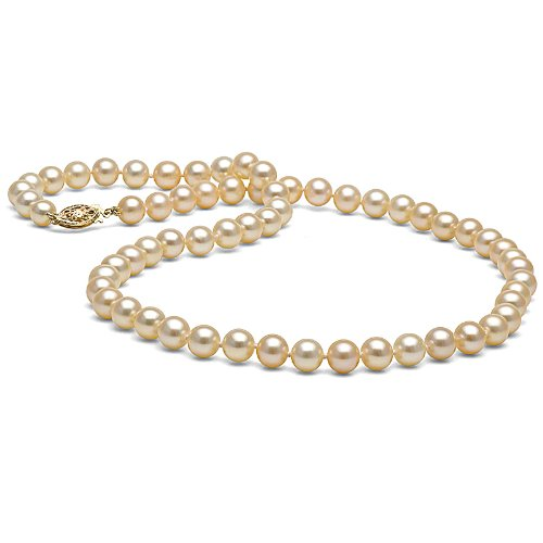 Pink Freshwater Pearl Necklace 6.0-7.0mm - AA Quality 16-Inch 14K Yellow Gold Filigree Fish Hook Clasp