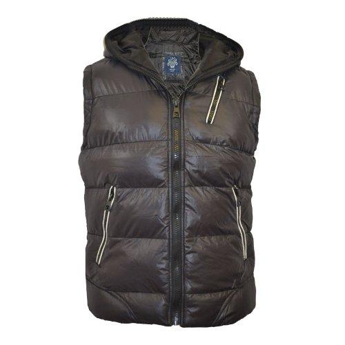 Mens Padded Bodywarmer Hooded Warm Gilet Jacket Sizes UK BLK L