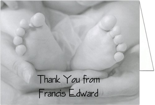 Black and White Toes Baby Thank You Cards - Set