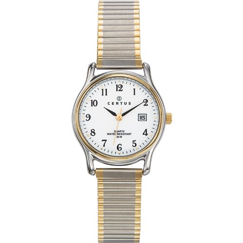 Certus 642318 - Ladies Watch - Analogue Quartz - White Dial - Two-Tone Metal Bracelet