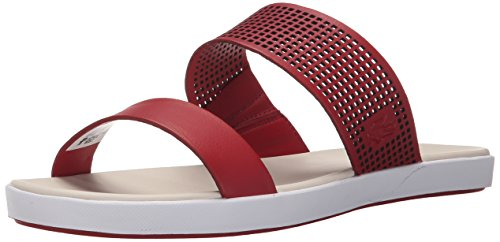 Lacoste Women's Natoy Slide Flat Sandal, Dark Red, 10 M US