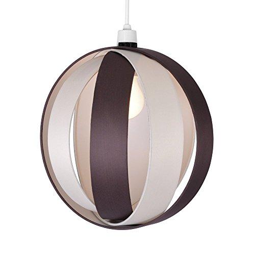 MiniSun Abat-jour Abats jour pour Suspension moderne Style globe en tissu Crème & marron / chocolat. Pour Douille de 28 mm